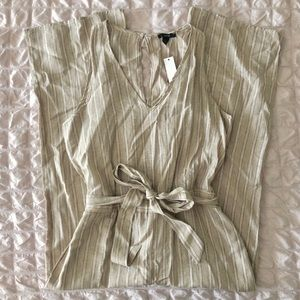NWT Anthropologie Drew Khaki Striped Jumpsuit